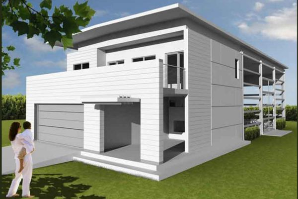 Notes when designing a drawing of a steel frame house with a corrugated iron roof